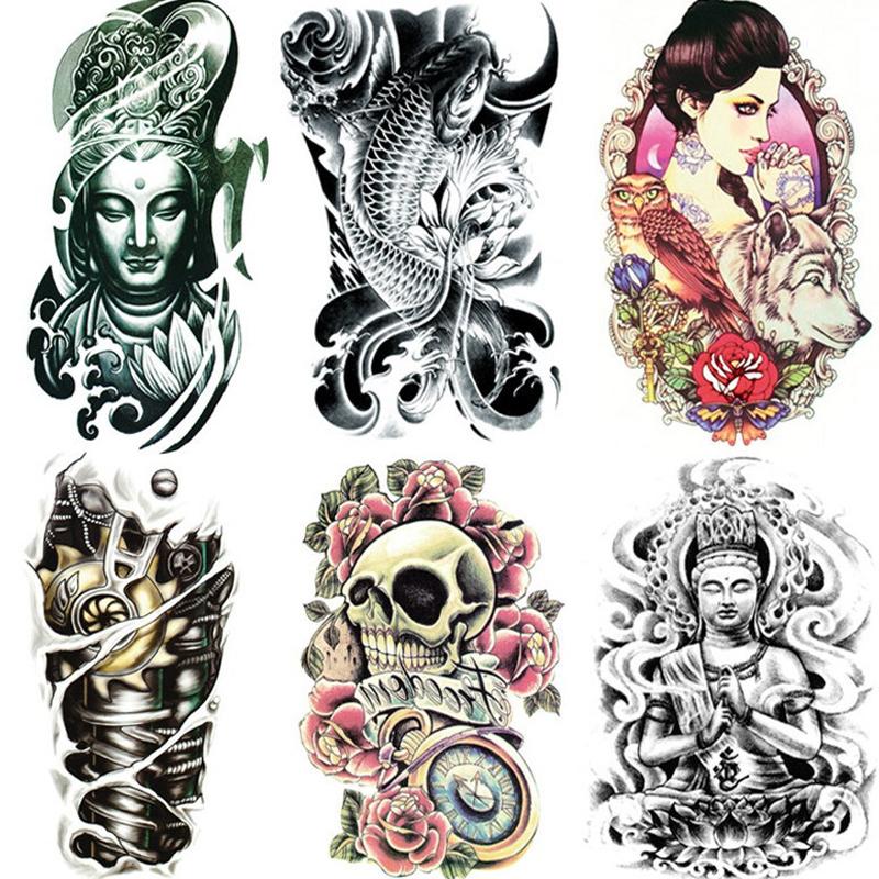 19x12cm retail tattoo stickers waterproof female beauty original simulation retro flower owl wolf totem Buddha arms trade paint(China (Mainland))