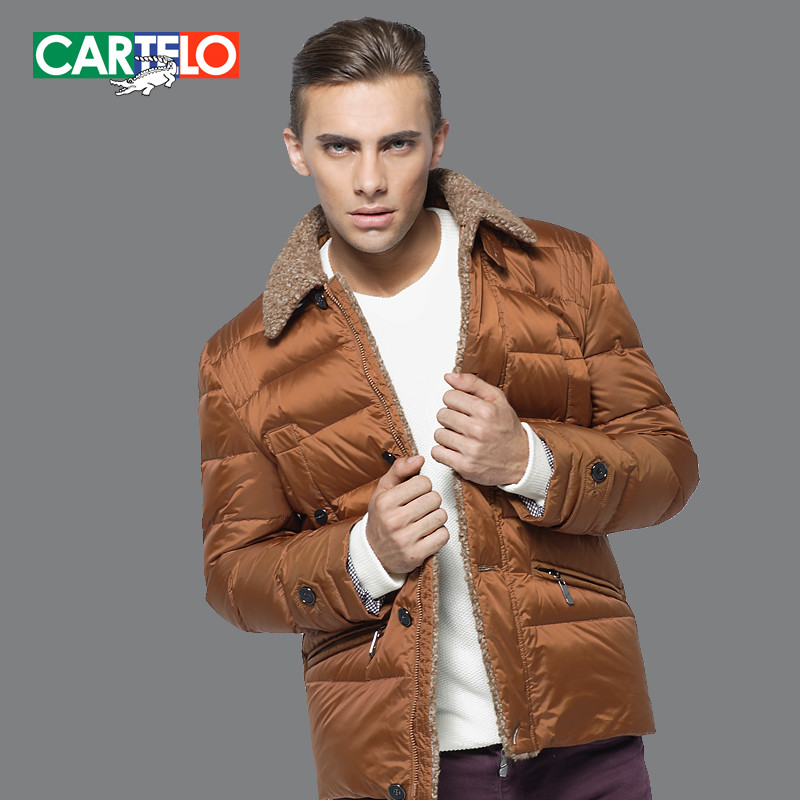 CARTELO/Brand Autumn Winter Men's Fur Collar Section Business Casual Slim Thick S-XXXL Down Jacket Male Short Coat For Man(China (Mainland))