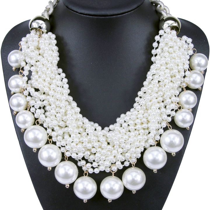 Large European and USA Fashion Gold Chunky Knit Collar High Quality Pearl Necklaces & Pendants Statement Jewelry For Women NK775(China (Mainland))