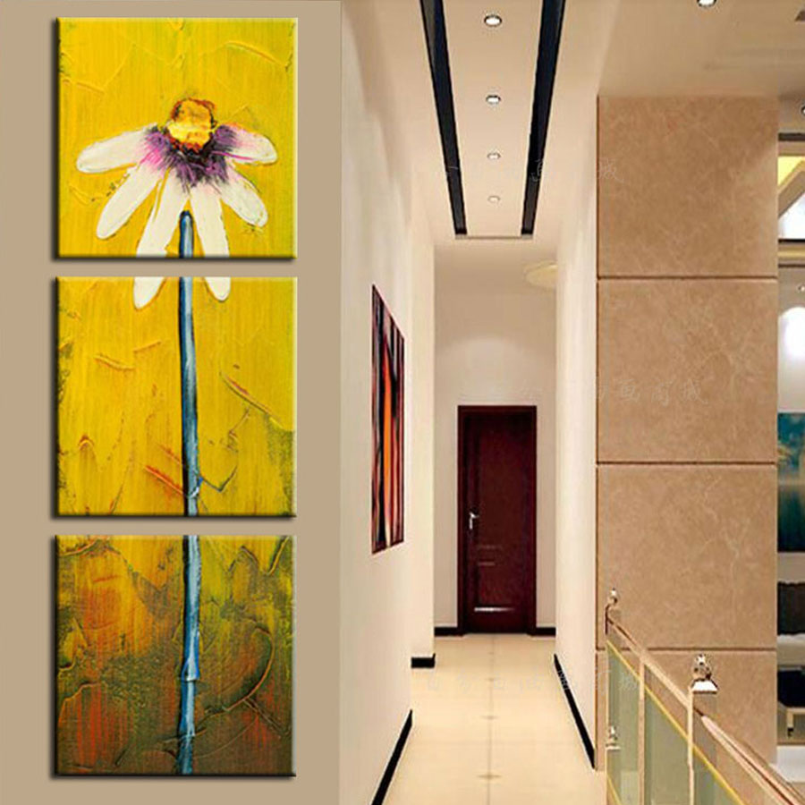 Printed modern abstract oil paintings sunflower picture for Vertical wall art