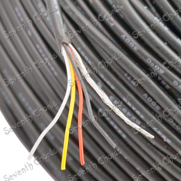 5 Meter Electric Guitar Bass Pickup Hookup 4 core shielded cable (4 core & earth wire) guitar Pots Hookup Wire(China (Mainland))