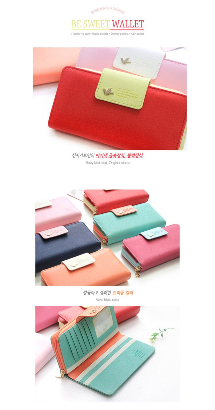 2016 New Fashion Candy Colors Women Wallets Female Coin Purse Brand PU Leather Long Desgin Leather Purse Clutch Lady Handbag