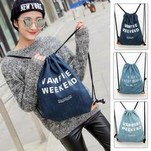 New Fashion Jean Cloth Travel Backpack 3D Print Softback Woman Mochila Feminina Harajuku Drawstring Bag(China (Mainland))