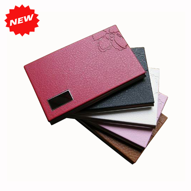 Men&Women's Metal Stainless Steel&Pu Leather Business Name Card Case Box Holder With Flower,Christmas Holiday Gifts,TNCH032(China (Mainland))