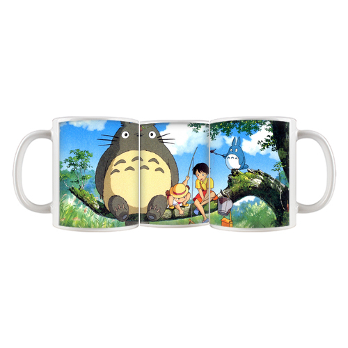Fishing My Neighbor Totoro and Kids Customize Coffee Mug Tea Cup 11 OZ Office Home Cup Advertising Mugs 5/6 Round Printing Area(China (Mainland))