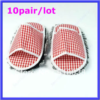 Free Shipping 10Pairs/lot grid Dusting Mop Slippers Shoes Floor Cleaner Velcro Removable Clean Easy