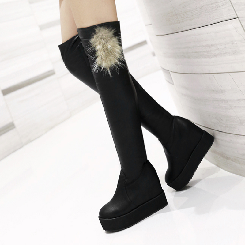 British college style round toe over knee high boots fashion fur decoration platform high heel increasing womens riding boots<br><br>Aliexpress