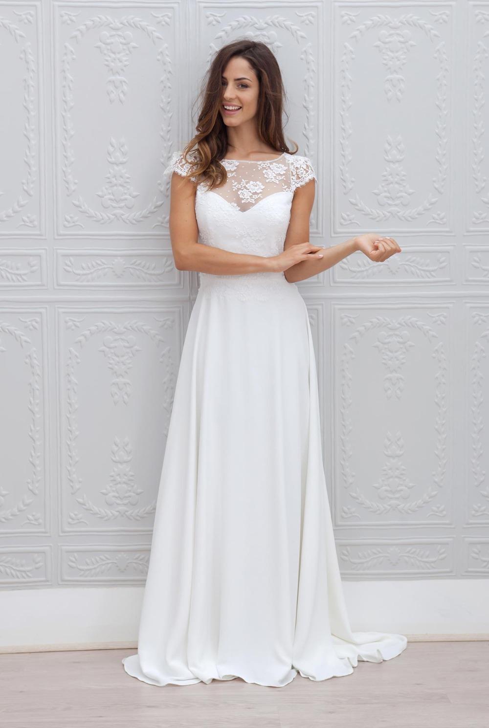 Custom made vestido de noiva elegante lace short sleeves for Beach wedding dresses with sleeves