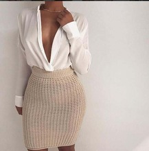 Buy New 2016 Hot Autumn Winter Womens Midi Waist Knitted Sweater Pencil Skirt Sexy Gray Khaki Bodycon Elastic Club Party Mini Skirts for $14.92 in AliExpress store