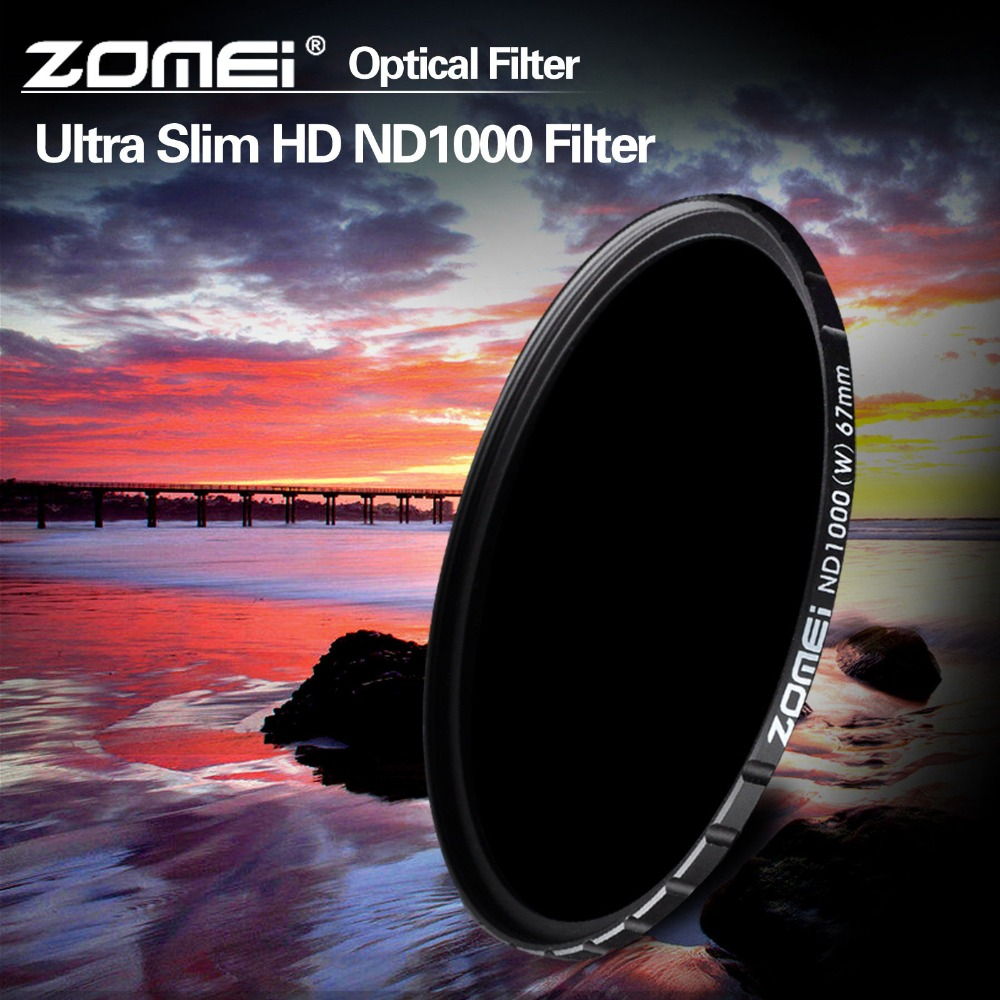 ZOMEI ND1000 72mm ultra-thin slim 18 Layer multi-coated 10 stop/3.0 ND Neutral Density Gray filter 10 dimmer decreas light(China (Mainland))