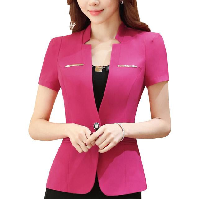 2016 летний новый элегантных женщин пиджак пр формальные тонкий короткий рукав офисные ...