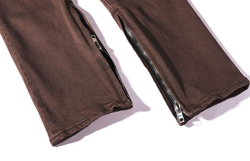 Скидки на High Street Красивый Бедствия Мыть Уничтожить Тонкий Разорвал Страх бог Джинсы Homme Бренд Одежды Байкер Kanye West Мужчины Браун брюки