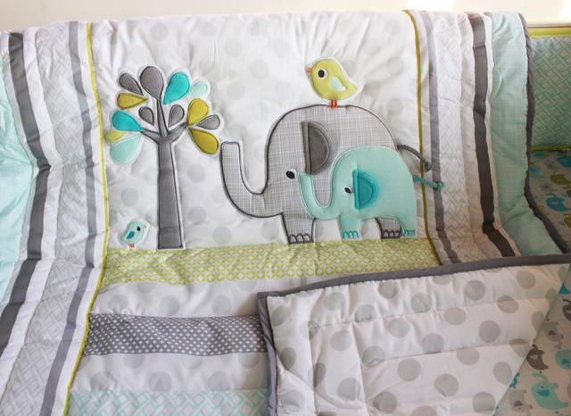 7 Шт. милый слон Детские Постельные Принадлежности Детская кроватка детская кроватка ...