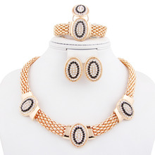African New Design Women Costume White Black Red Rhinestone Necklace Sets Fashion Silver Gold  Plated Clear Crystal Jewelry Sets(China (Mainland))