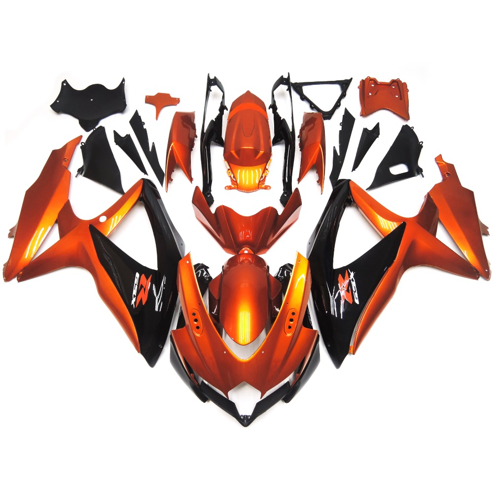 Fairings For Suzuki GSXR600 GSXR750 K8 08 09 10 2008 2010 ABS Plastic Motorcycle Injection Fairing Kit Cowling Orange Black New(China (Mainland))