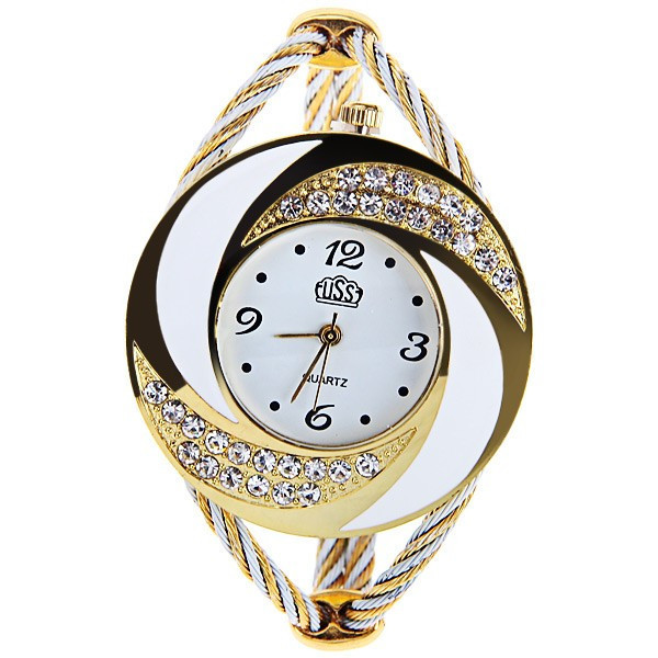2015 New Luxury Brand CUSSI Rhinestone large wrist watch women Fashion Vintage styling female designer ribbon band Dress time(China (Mainland))