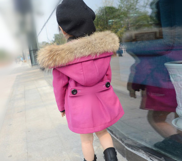 children's clothing girls winter coat long sections woolen fur collar hat - shuang wang's store