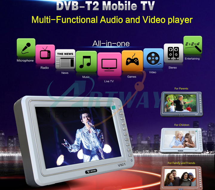 "Newest Digital Mobile TV/DVB Player with DVB-T2 9"" big display V921 T2 Muti-function AV MP3/MP4/MP5 Player radio support(China (Mainland))"