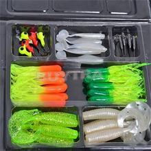 Fishing Tackle Carbon Steel Fishing Hook Lures Spoon Simulation Tackle Small Jig Head Soft silicone Fish Bait Set Box Wholesale(China (Mainland))
