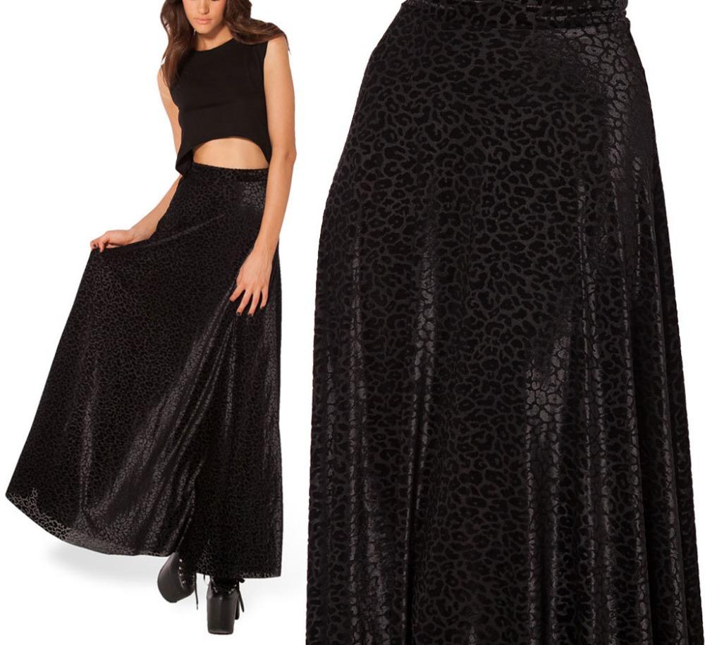 autumn winter skirts womens burned velvet maxi skirt black