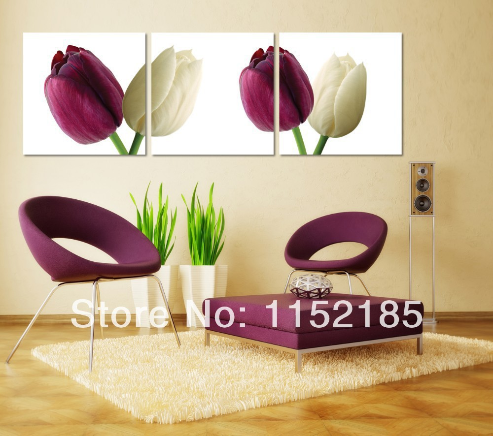 Free Shipping White And Purple Color Flower 3 Panel Wall Art Canvas Oil Paintings Art Pictures For Bedroom Cuadros Decoracion(China (Mainland))