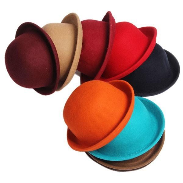 Зима шляпа винтажный кость леди милый дети модный шерсть войлок боулер дерби флоппи-бей ...