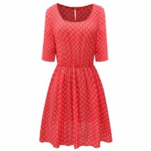 Rogesi 2016 New Fashion Women Dress Famous Designer Floral Print Dresses Women's Clothing 50S Dresses