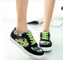 2015 Brand Shoes Women Sneakers Sport Shoes For Women Footwear Chaussure Femme Floral Printed Casual Summer