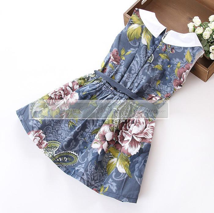 Ive 2015 новое платье дети моды платье девушка цветочные платья ig153