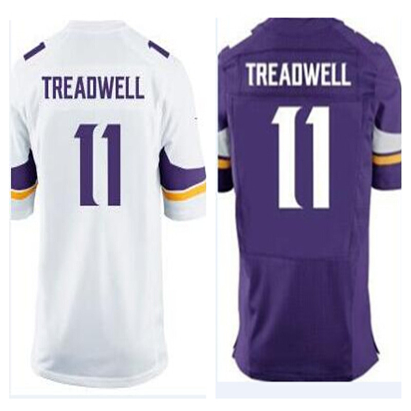 2016 New Draft Pick #11 Laquon Treadwell Jersey Purple White 100% Stitched Men's Laquon Treadwell Jerseys(China (Mainland))