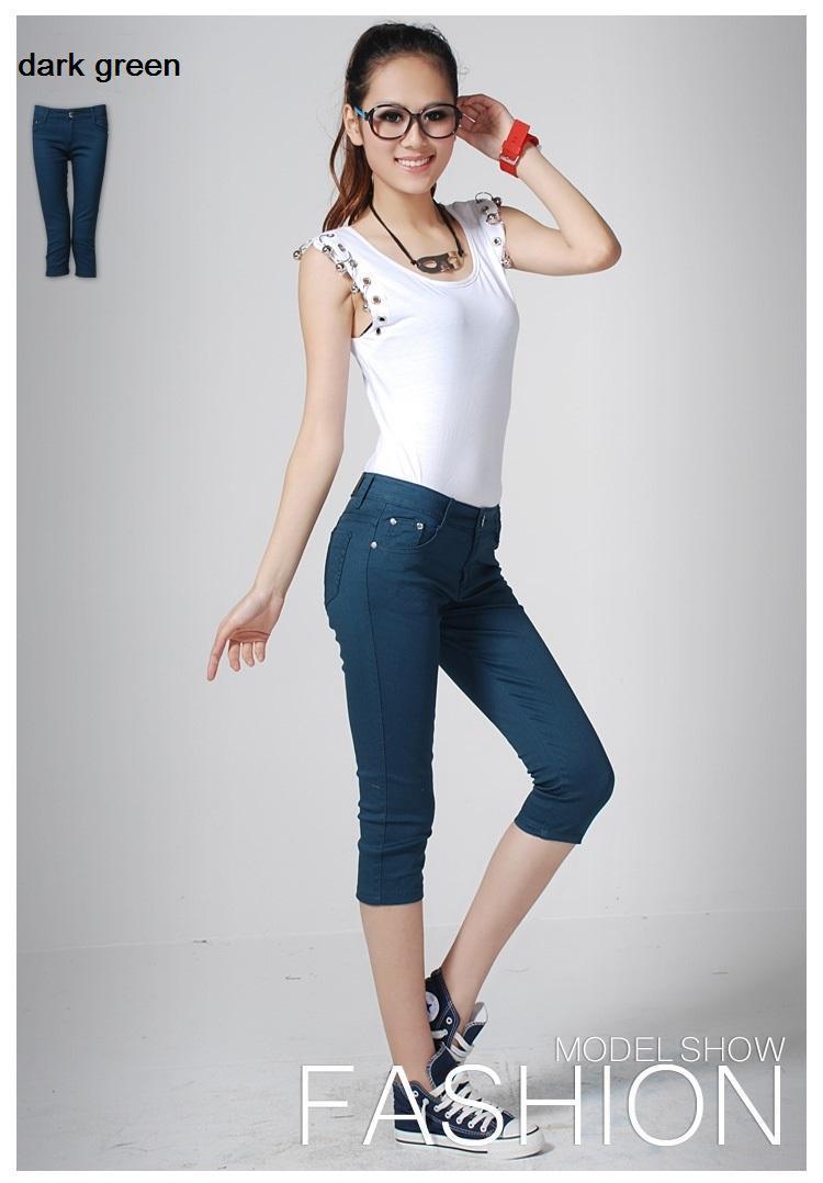 casual women pant Capris pants for women summer,sex low waist regular Skinny Legging Cropped trousers boot cut design(China (Mainland))
