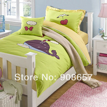 2014 Embroidery applique kids children girls bedding 4-5pc green whale cotton twin full queen size duvet covers comforter sets(China (Mainland))