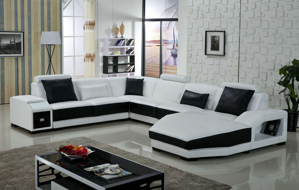 First grade leather sofa designs for living room in living for Latest design of sofa set for drawing room