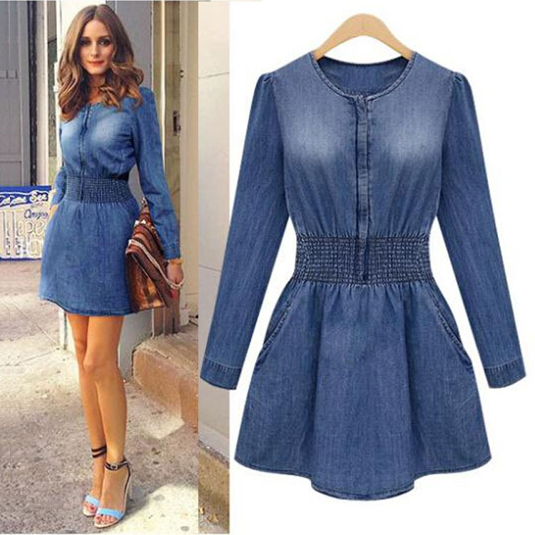 Popular Long Sleeve Denim Dresses Women 2016 Blue Casual Jeans Dresses