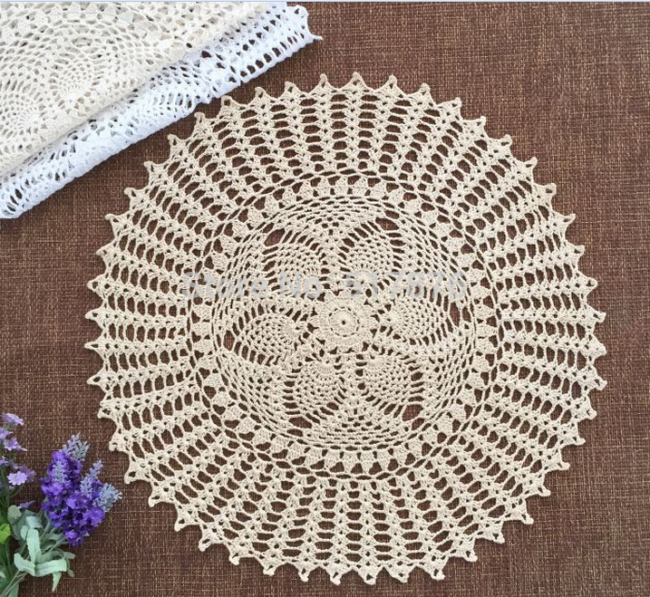 5pcs/lot18.37 inch Round Hand made crochet lace doily diameter : 45 cm retro tea desk mat crocheted tablecloth(China (Mainland))