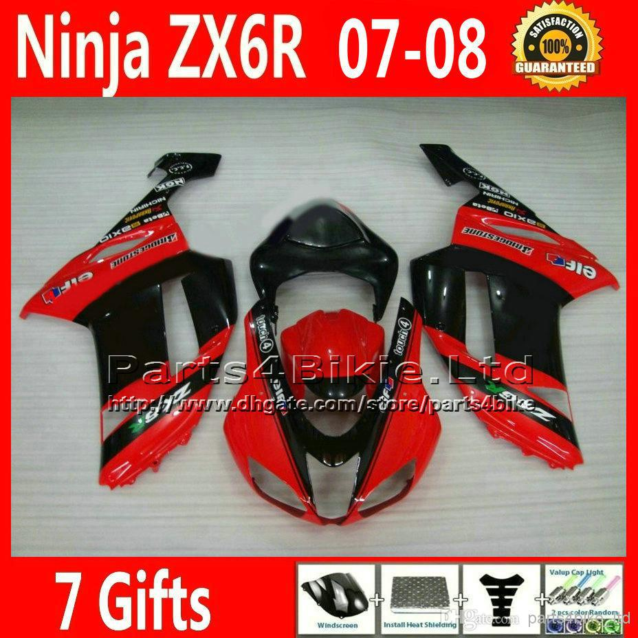 Racing motorcycle parts for 07 08 Kawasaki red black Ninja fairing 636 ZX 6R plastic fairings kits ZX636 ZX6R 2007 2008 XR33 +7(China (Mainland))