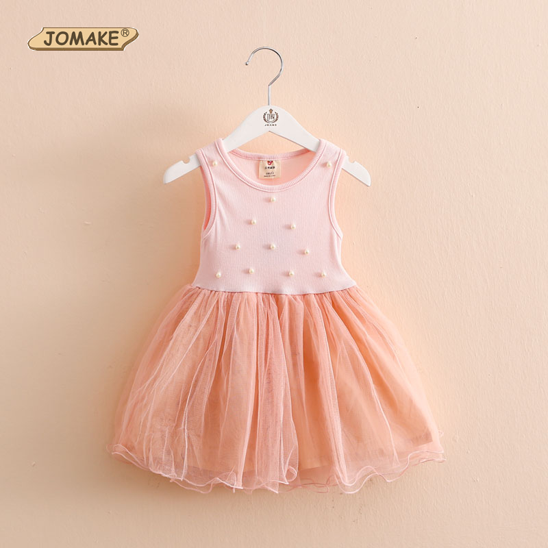 Pearls Patch Girls Dresses Summer 2016 Casual Kids Clothes Baby Vest Dress Girl Tutu Dress Brand Designer Children's Clothing(China (Mainland))