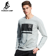 Pioneer Camp 2017 Новое поступление мужская толстовка о-образный дизайн веснняя и осенняя футболка средняя толщина модный модель серый цвет AWY702017(China (Mainland))