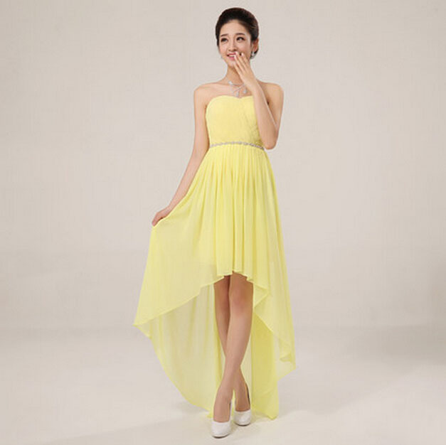summer chiffon short front long back sexy yellow high low purple prom dress dresses 2015 S1093 - I And You Story store
