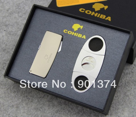 COHIBA four Jet Flame Cigarette Cigar Butane Gas Torch Lighter Refillable with puch and cutter - Windproof- free shipping(China (Mainland))
