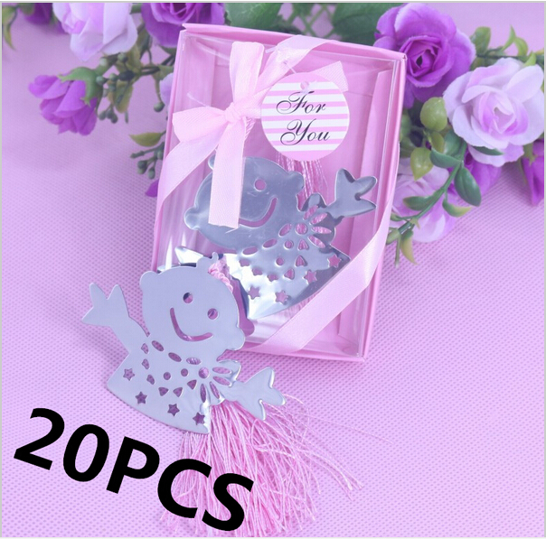 20PCS Blue &Pink Silver Snowman Bookmark Bulk Baptism Bridal Kids Baby Shower Souvenirs Party Wedding Favors and Gifts For Guest(China (Mainland))