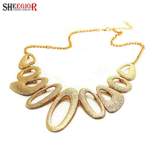 Gold long necklace women Multi circle collares necklaces & pendants bijoux choker necklace collier femme fashion vintage jewelry(China (Mainland))