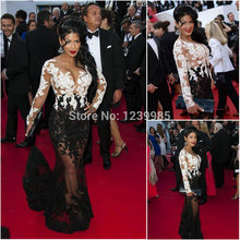 Sexy See Through Long Sleeve Lady Formal Dress White And Black Mermaid Gown Sequin Beads Long Elegant Prom Dresses 2017(China (Mainland))