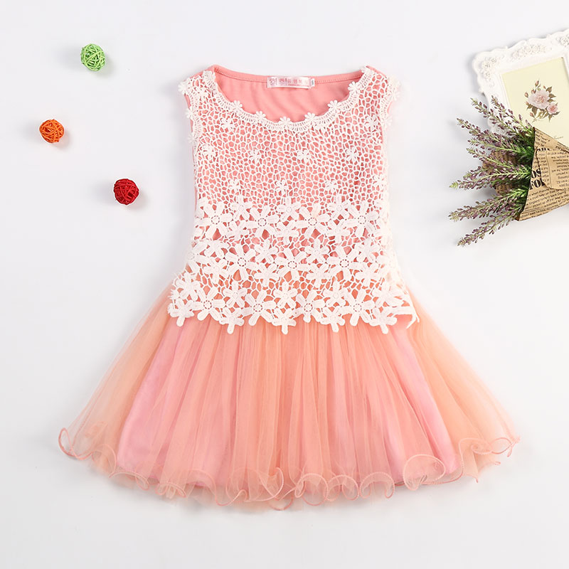 2017 Fancy Lace Flowers Girl Dress Children's School Wear Toddler Girls Dresses Korean Quality Baby Girls Kids Tulle Clothing(China (Mainland))