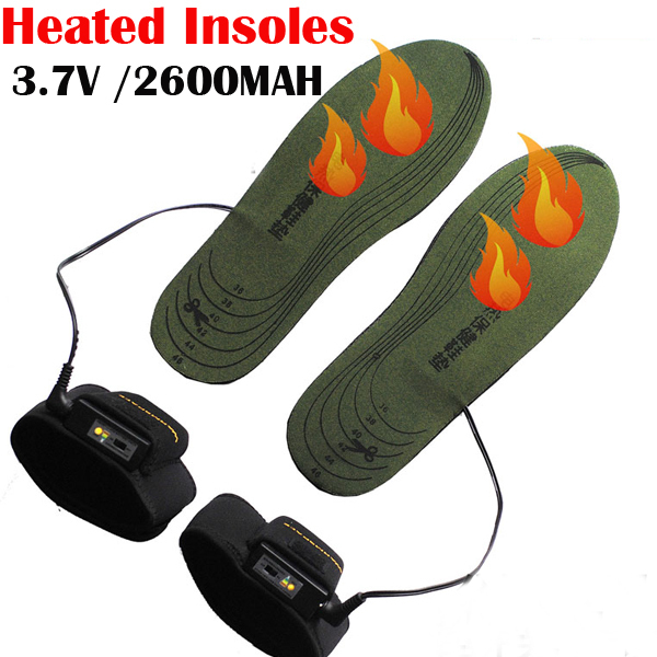 WARMSPACE 3.7V Electric Heated Insole With 2X2600MAh Li-ion Battery Heating Shoe Pad For Winter Retail Box 10Pair /Lot Free DHL(China (Mainland))