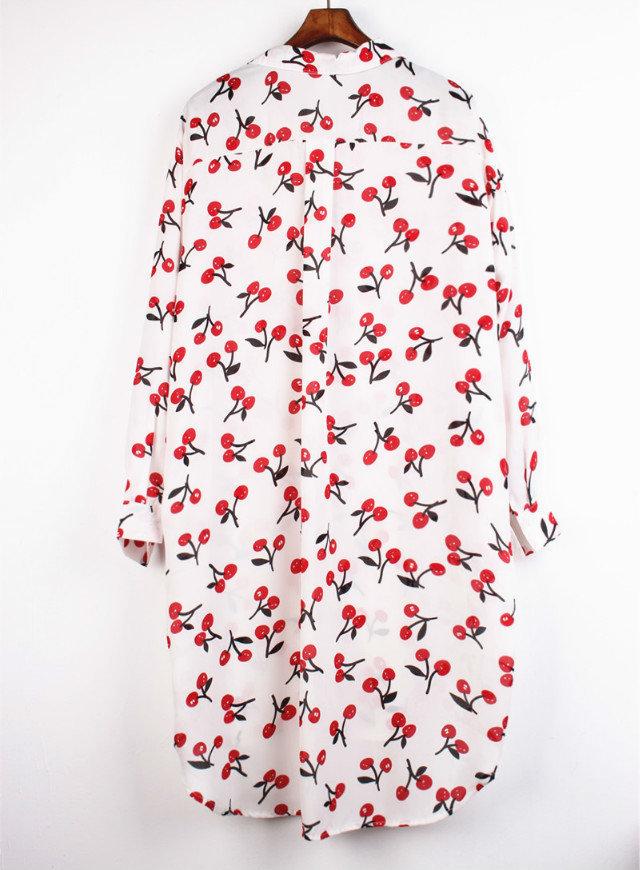 2015 New Fashion Blusas Cardigan Blouse women cherry print long chiffon shirt dress loose Style Full Sleeve 3 Colors Sun shirt(China (Mainland))