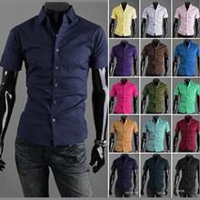 Free Shipping 2015 Mens Slim fit Unique neckline stylish Dress short Sleeve Shirts Mens dress shirts