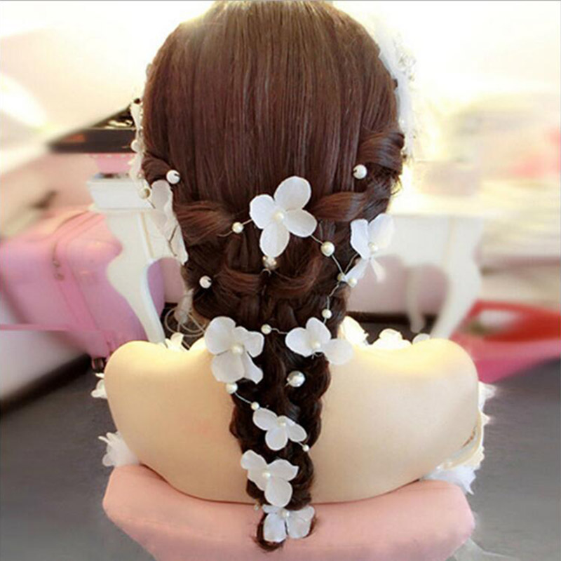 Romantic White Red Flowers Headband Simulated Pearls Jewelry Hair Flower Bridal Headwear Wedding Floral Hair Accessories SG028(China (Mainland))