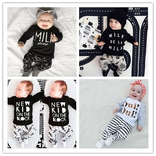2016 Fashion baby girl clothes unisex black cotton long-sleeved letter T-shirt+Pants newborn baby boy clothing set(China (Mainland))