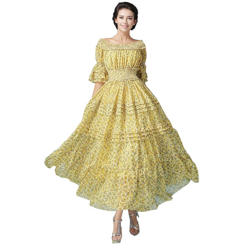 2016 nouveau mode féminine automne bohème impression fleur plage belle robe moitié manches Maxi parti princesse robe dos nu vent.